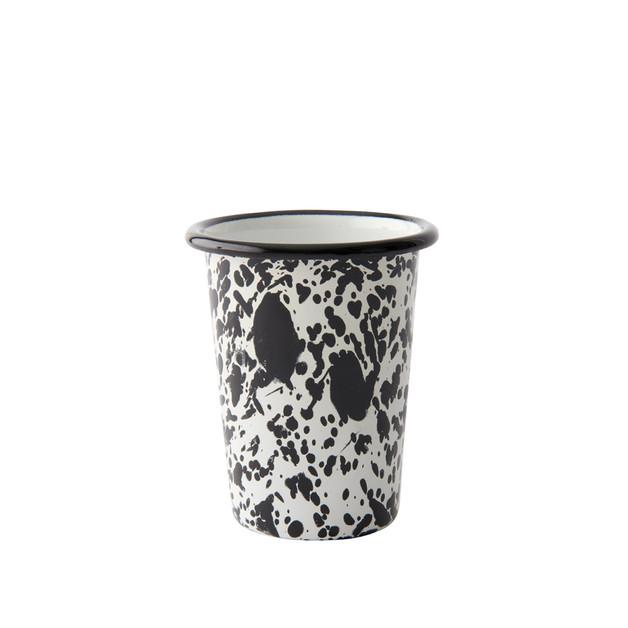 Bornn: Enamel Monochrome Small Tumbler Black Splatter On White