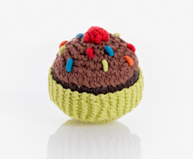 Pebble Cupcake Rattle - Lime with Chocolate Icing