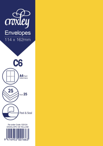 Envelope C6 Yellow - 114x162mm (Pack 25)