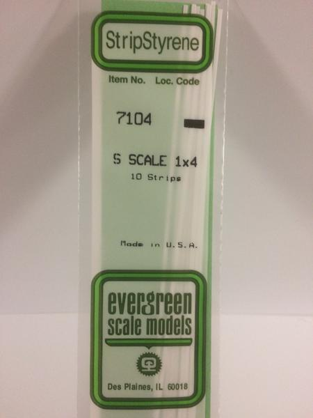 Evergreen Styrene S Scale Styrene Strip 1X4 (10)
