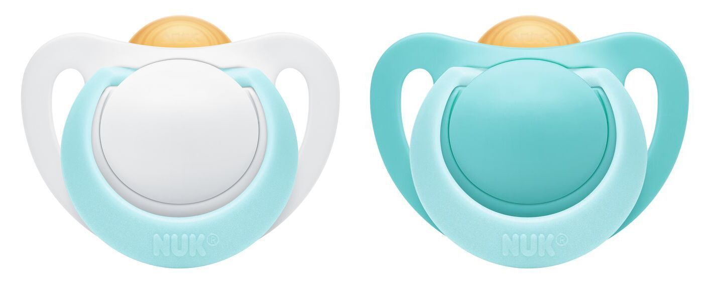 NUK: Genius Latex Soother - 0-2 Months Turquoise (2 Pack) image