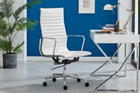Matt Blatt: Replica Eames Group Standard Aluminium High Back Office Chair (White Leather)