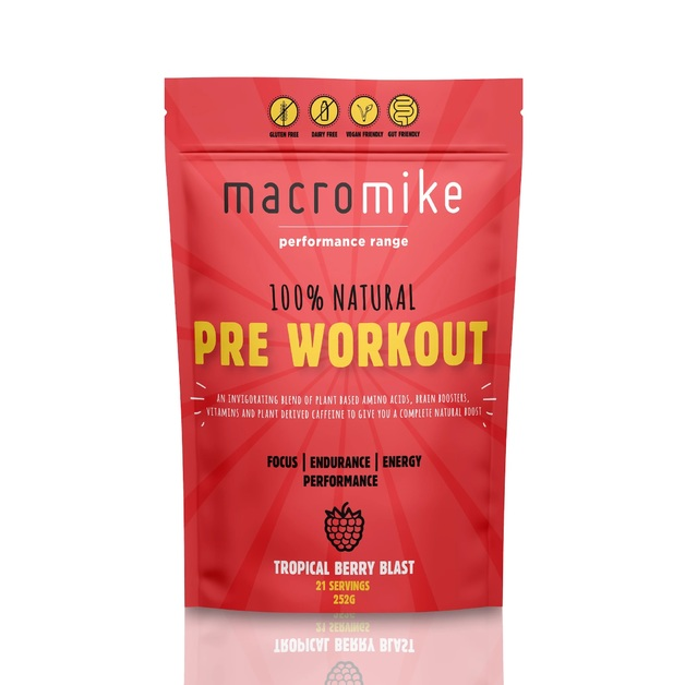 Macro Mike All Natural Pre-workout - Mixed Berry (252g)