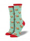 Womens Romantic Roses Socks - Mist