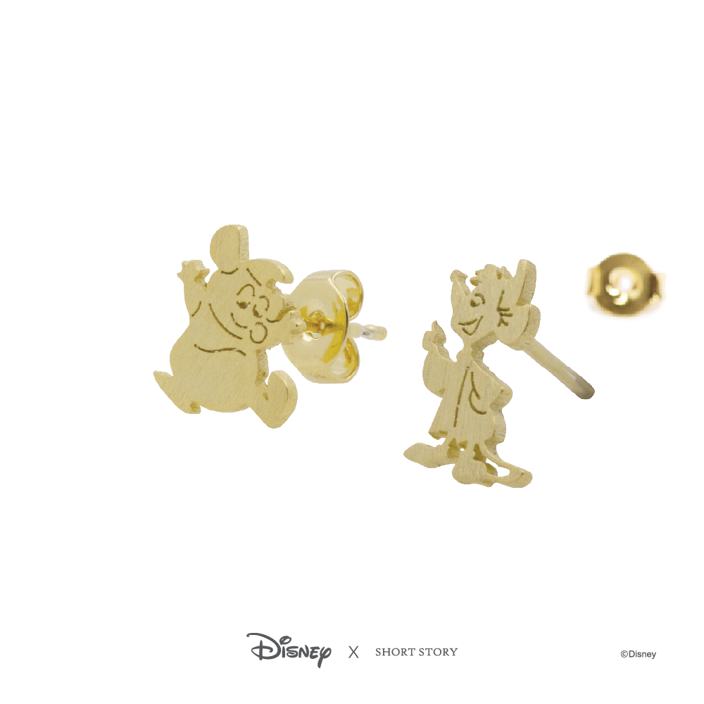 Disney Earring Cinderella Jaq and Gus - Gold image