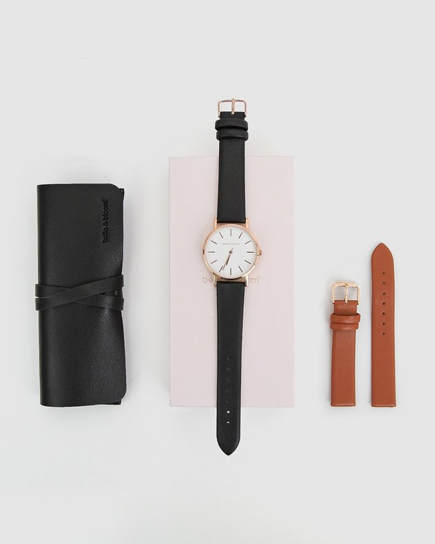 Belle and Bloom: Lafayette Love Watch Gift Set - Black/Tan