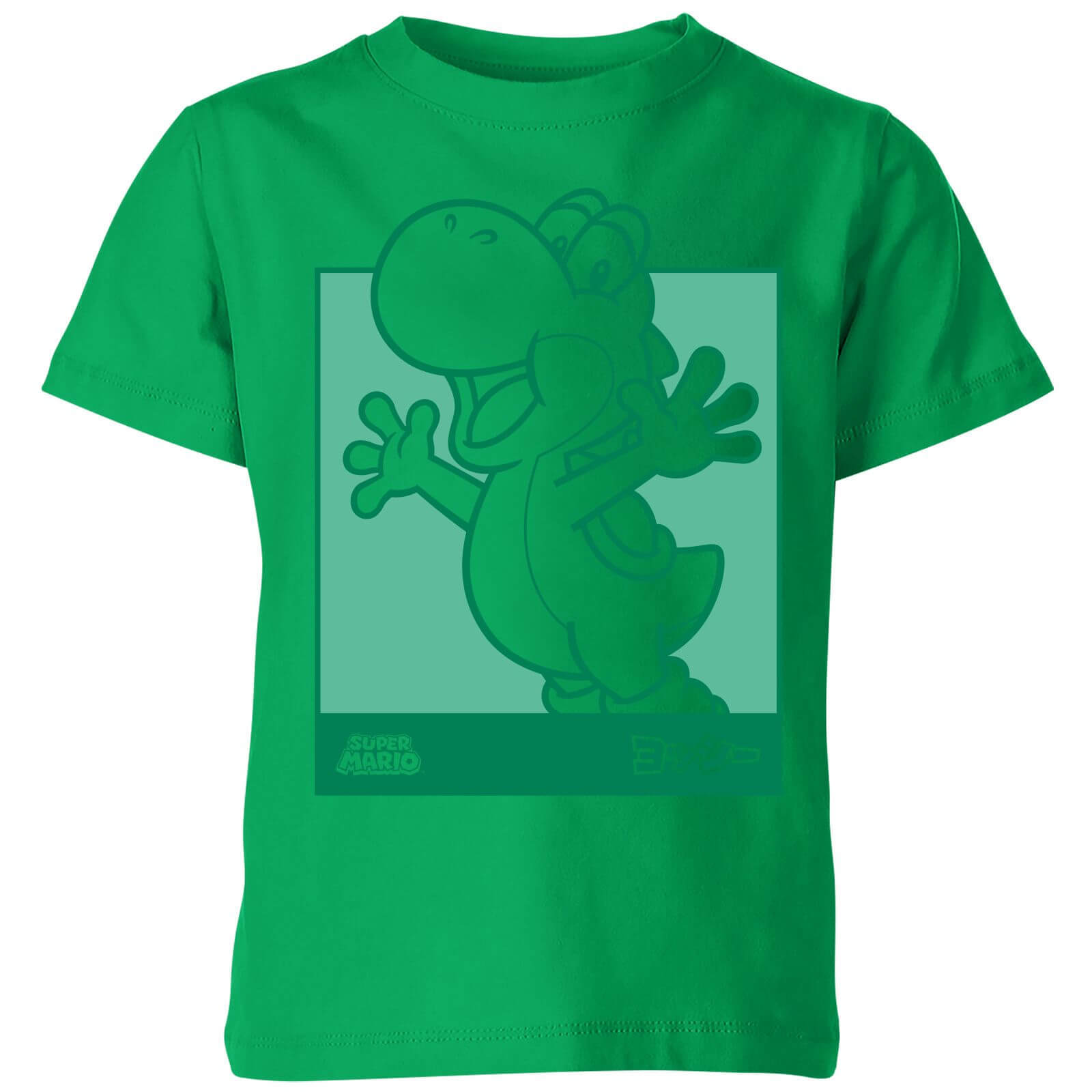 Nintendo Super Mario Yoshi Kanji Line Art Kids' T-Shirt - Kelly Green - 11-12 Years image