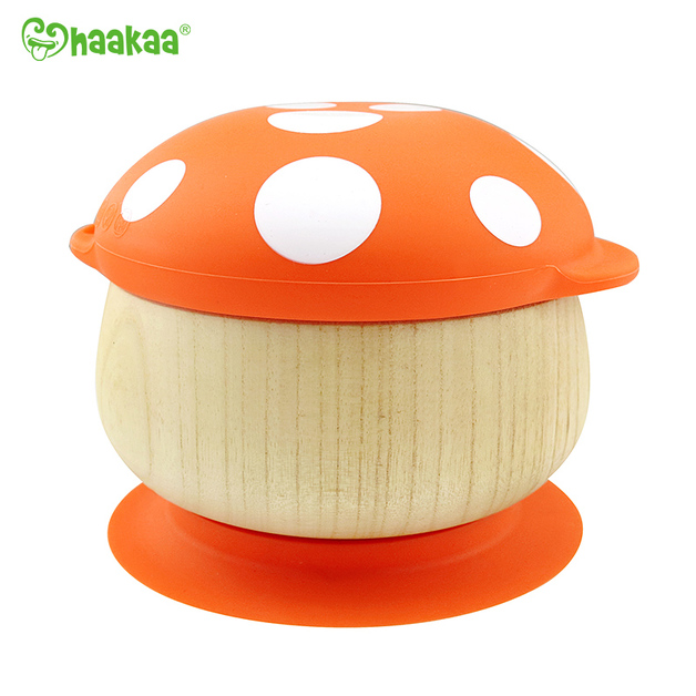 Haakaa: Wooden Mushroom Bowl with Suction Base - Orange