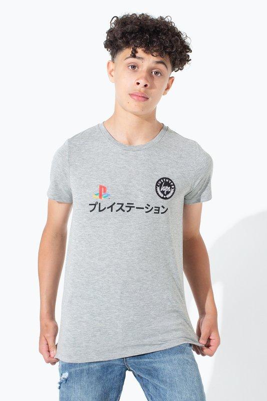Just Hype: PlayStation Grey Dual Logo Kids T-Shirt - 7-8Y