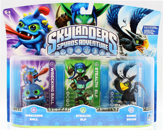 Skylanders Spyro's Adventure Triple pack (Sonic Boom, Stealth Elf, Wrecking Ball) for