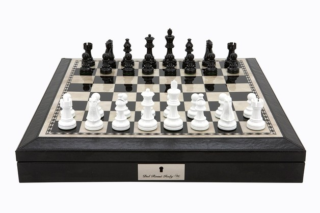 Dal Rossi Black & White Chess Set with Leather Edging - 45cm