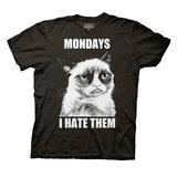 Grumpy Cat Mondays I Hate Them Black T-Shirt (Medium)