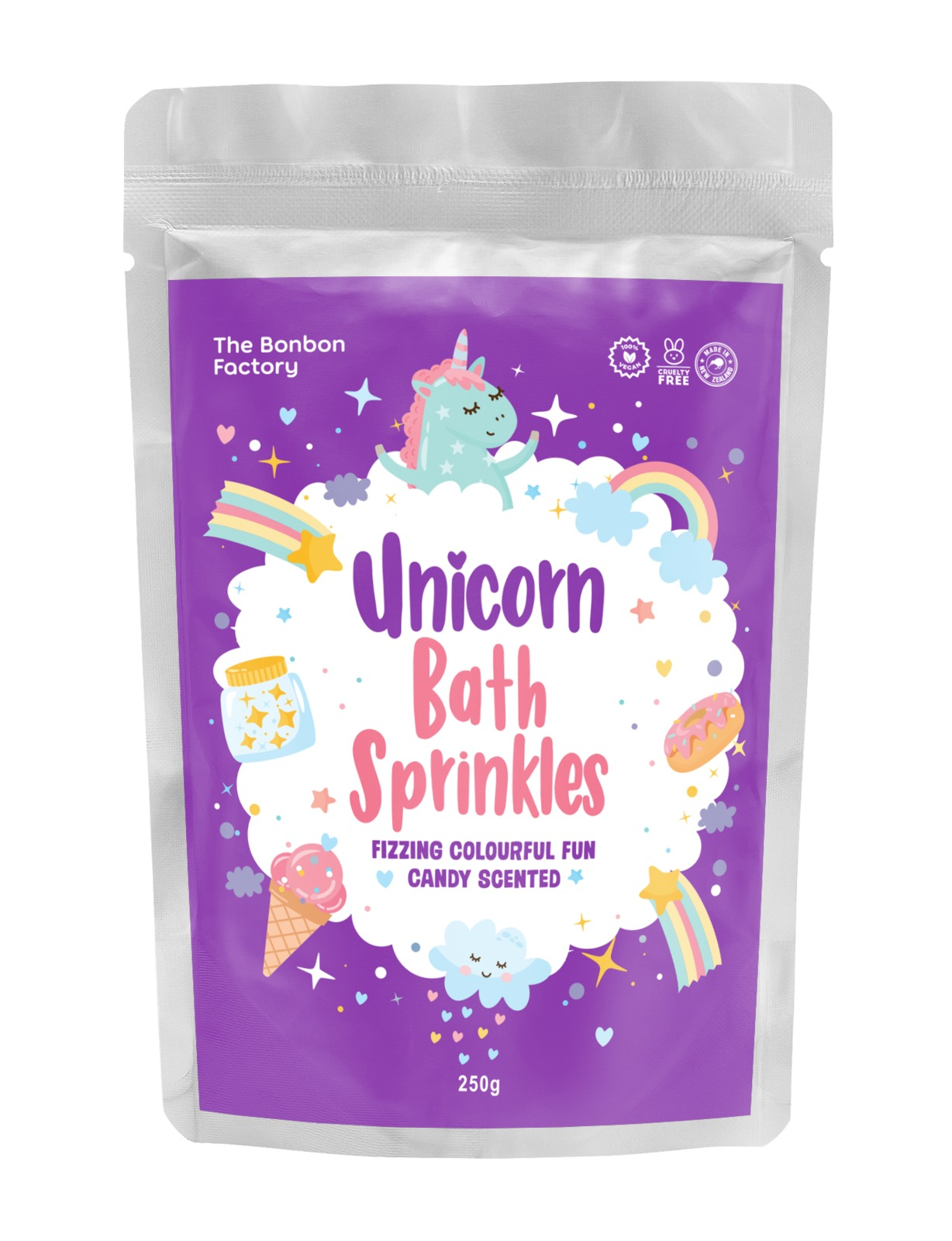 The Bonbon Factory Unicorn Bath Sprinkles - Candy Scented (250g) image