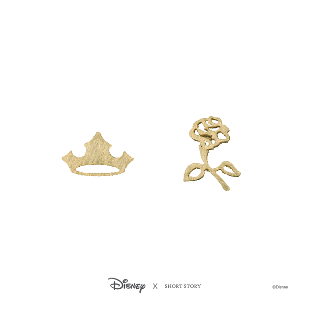 Short Story: Disney Earring Aurora Flower and Crown - Gold