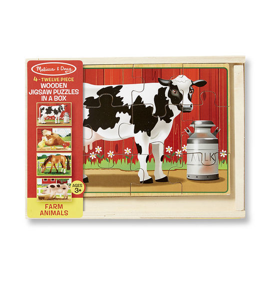 Melissa & Doug: Wooden Farm Jigsaw Puzzles in a Box