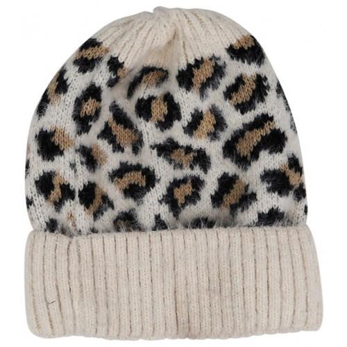 Leopard Beanie - Cream
