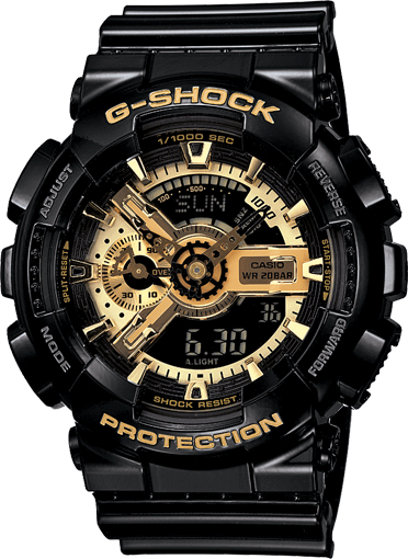 Casio G-Shock Analogue/Digital Mens Black/Gold Watch GA-110GB-1A