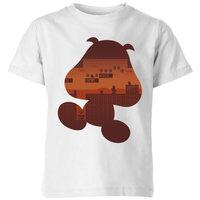 Nintendo Super Mario Goomba Silhouette Kids' T-Shirt - White - 7-8 Years image