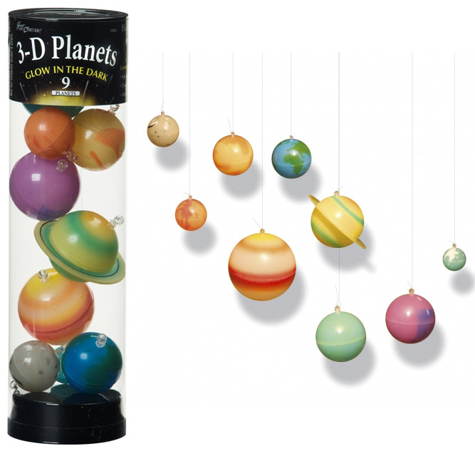 3D Planets in Tube - Glow in Dark image