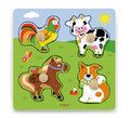 VIGA Wooden Toys: Wooden Knob Puzzle - Farm Animals