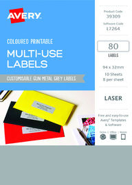 Avery L7264 Multi-Use Labels - Metal Grey (10 Sheets/80 Labels)