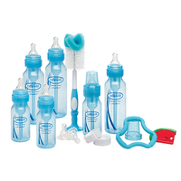 Dr Brown: Blue Bottle Gift Set - 5 Bottles, 4 Extra Teats, 2 Teethers, Bottle Brush, Caps, Vent brushes