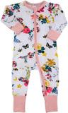 Bonds Zip Wondersuit Long Sleeve - Intergalactic Bouquet White - Premature