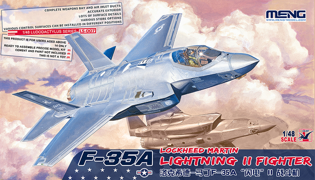 Meng: 1/48 F-35A Lightning II Fighter Aircraft Model Kit