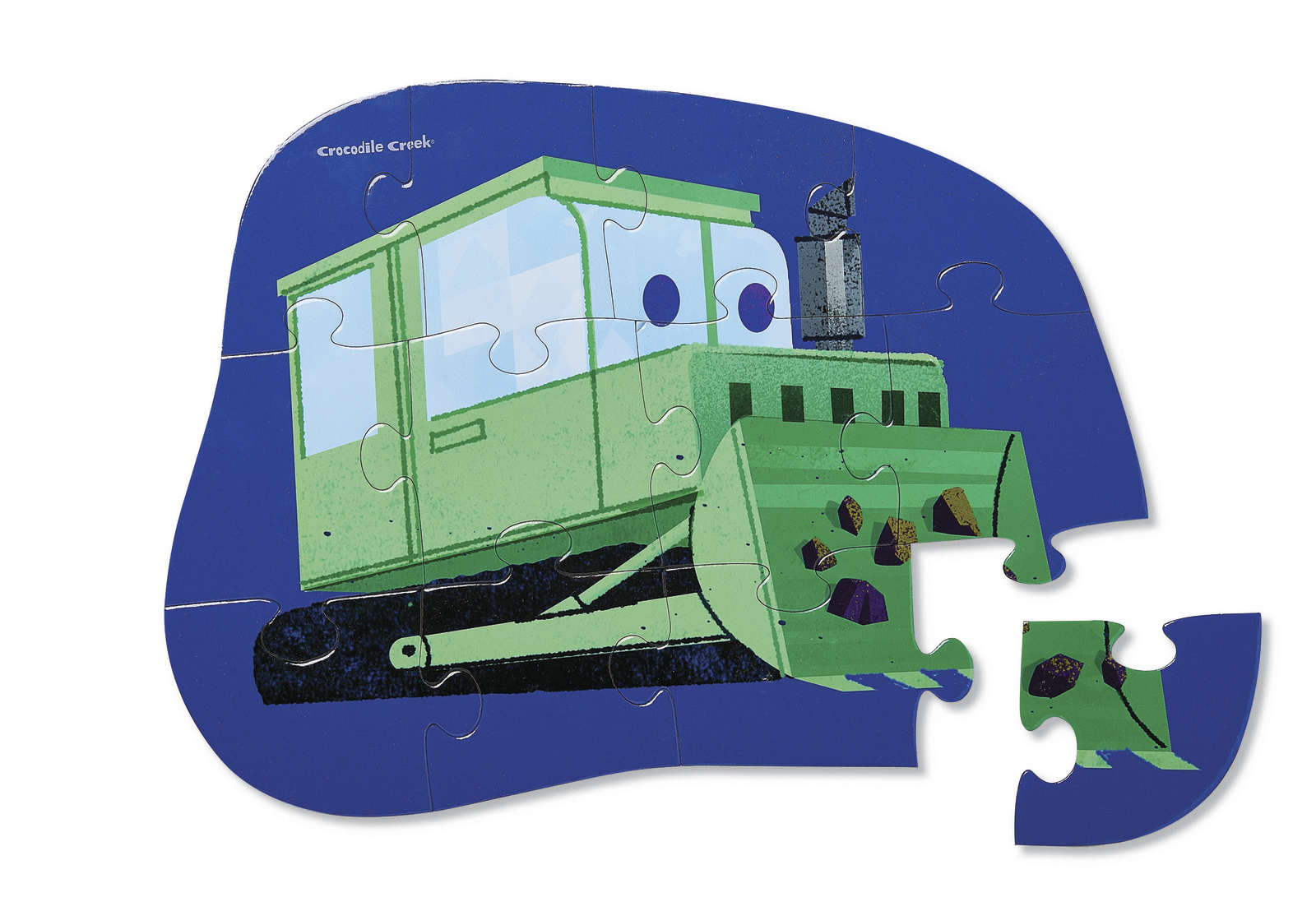 Crocodile Creek: Mini Shaped Puzzle - Little Bulldozer (12pc) image