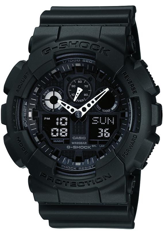 Casio G-Shock Analogue/Digital Mens Black XL-Series Watch GA-100-1A1DR