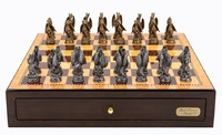 "Dal Rossi: Mystical Dragons - 18"" Pewter Chess Set (Walnut Finish)"
