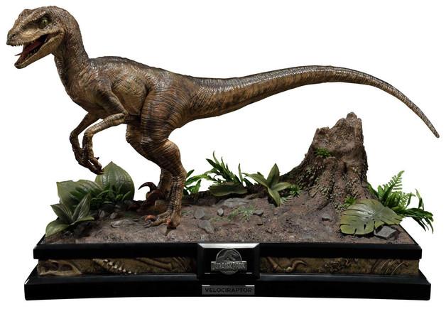 """Jurassic Park: Velociraptor (Open Mouth) - 24"""" Premium Statue"""