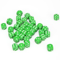 Chessex: D6 Opaque Cube Set (12mm) - Green/White image