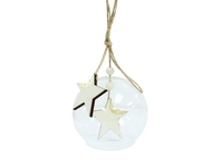 Ione Wooden Star Bauble - Natural (9cm)