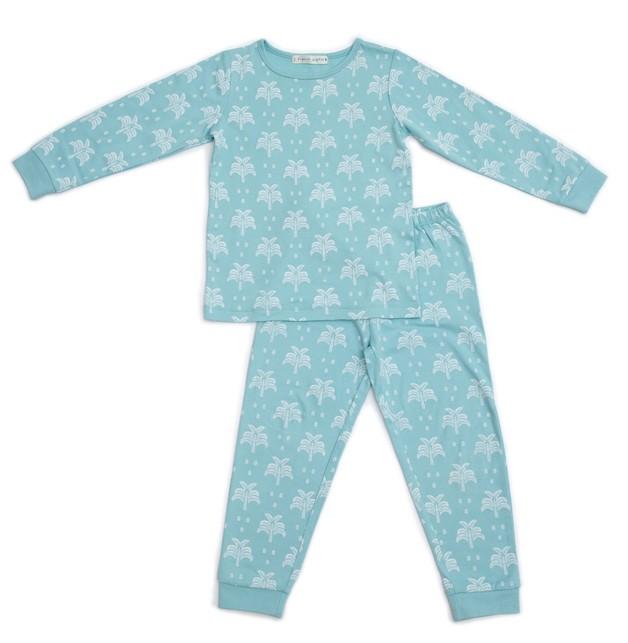 Organic Nights: Aquatic Blue Childrens Long Sleeve/Long Pants Pyjama Set - 8-9 years