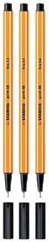 Stabilo 88 Fine Liner Pens Black Pkt 3