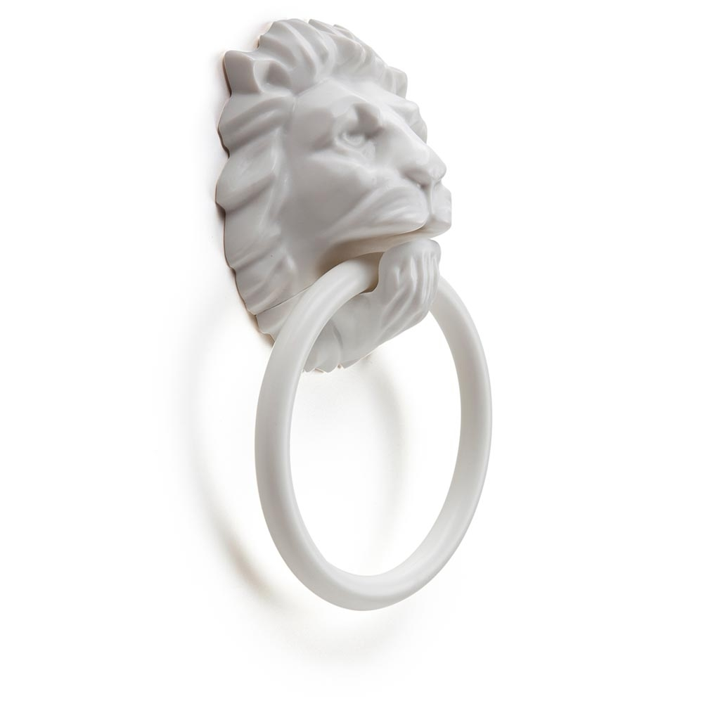 Monkey Business Lion's Head Magnetic Towel Holder (White) image