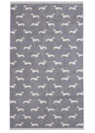Emily Bond Bath Towel - Grey Dachshunds